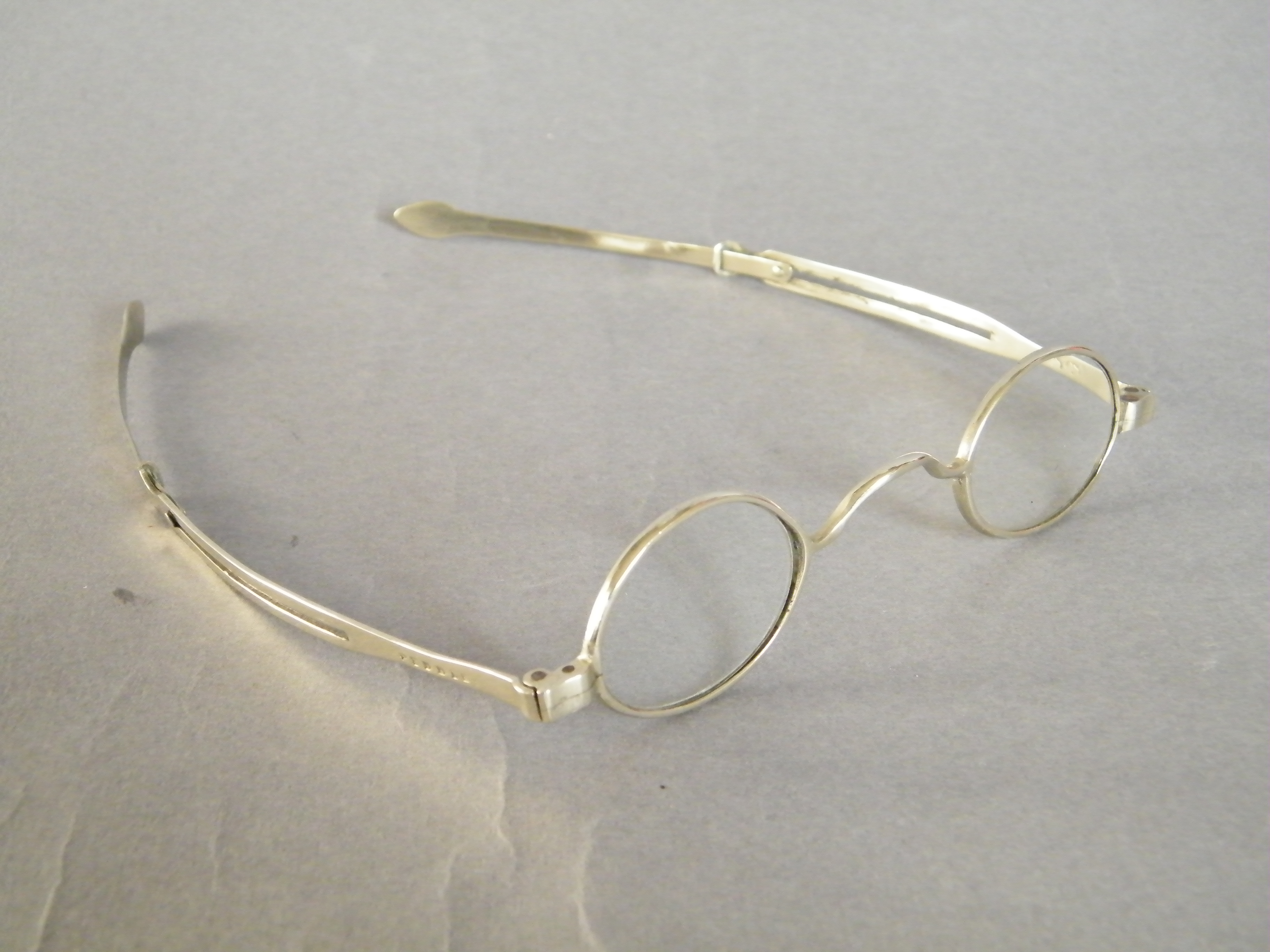 #1638  Cased Early Victorian Spectacles with Rock Crystal Lenses by John Holmes, London, circa 1838