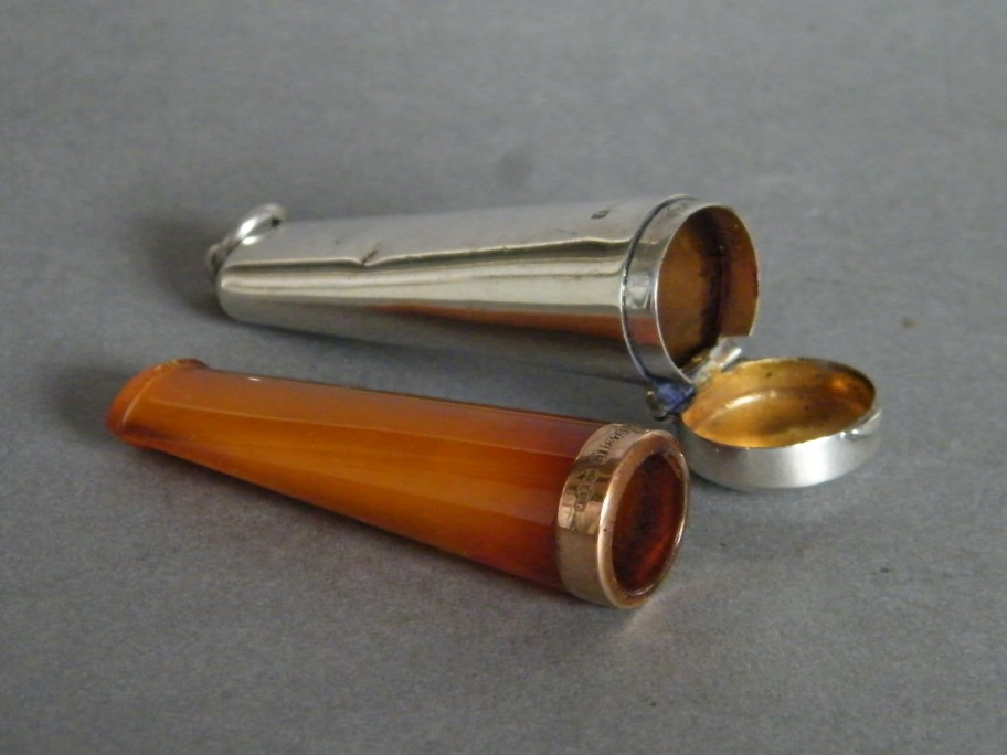 #0742 Edwardian Gold Collared Amber Cheroot Holder in Silver Case, circa 1910 **SOLD**
