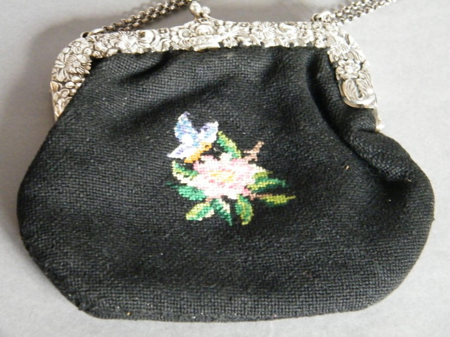 #0085 German Embroidered Handbag with Silver Clasp, Edwardian c1900-1910
