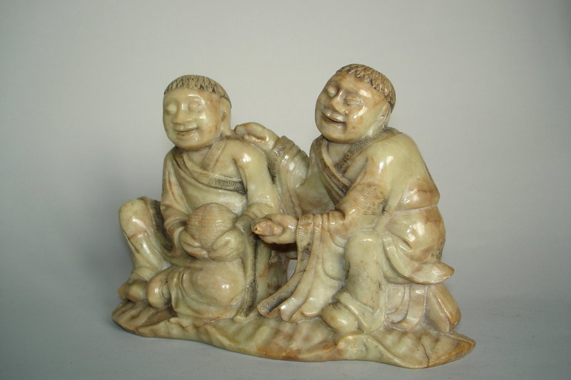 #0326  Rare 17th Century Chinese Soapstone Carving 'Hehe Erxian' **Sold** to Taiwan - May 2011 售至台湾 - 2011年5月
