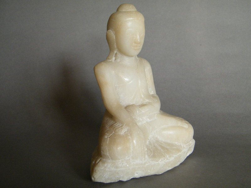 #0604  Burmese Carved Marble Buddha from Myanmar, 19th Century **SOLD**