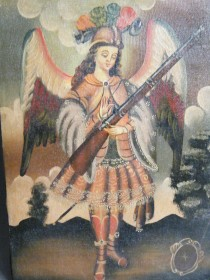 #1662  17th / 18th Century Style Oil on Canvas - Arquebusier Angel, circa1990s