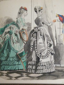 #1665 Hand Coloured Ladies 'Latest Paris Fashions' Print, August 1868