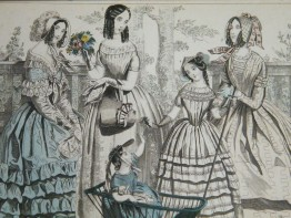 #1675  Hand Coloured Ladies Paris Fashion Print, September 1845  **Sold** March 2018