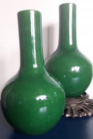 #1824  18th/19th Century Chinese Apple Green Glazed Vases, *Price on Request* , *售价待询*