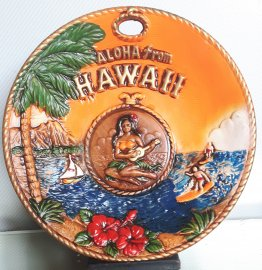 #1855 Painted Pottery Hawaiian Wall Plaque, circa 1960s - 1970s