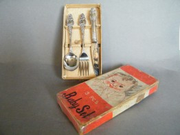 #1655  Boxed Children's Cutlery Set, circa 1940s  **SOLD** December 2019