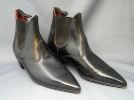 #0196 Original Leather Italian Style Cuban Heeled Winkle Picker Boots, circa 1960, Size 2