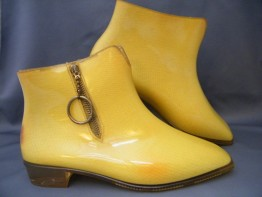 "#0456 Rare Pair of Yellow 1960s Mary Quant Designed "" Quant Afoot"" Ankle Boots - Unused **SOLD** to USA  2016"