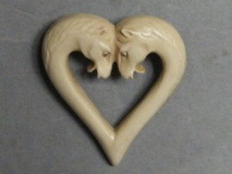 #0912 1920s or 1930s Faux Ivory Art Deco Horses Plastic Brooch **SOLD**