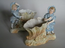 #1624  Pair of Bisque Porcelain Boy & Girl Cornucopia Vases, circa  1890-1910