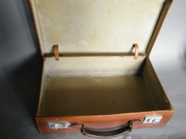 #1015 Attache Style Small Leather Suitcase, circa 1925 - 1950 **SOLD**