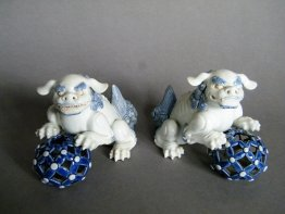 #1741 Rare Pair of Hirado Porcelain Shishi / Lions from Japan, Edo Period circa 1820-1850