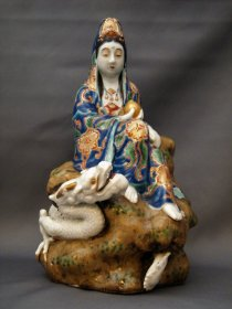 #1753 Rare Japanese Porcelain Figure Kannon with Dragon, Meiji (1868 - 1911)