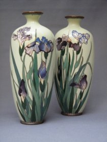 #1767  Pair of Cloisonne Enamel Vases  from Japan, Meiji Period (1868-1911)