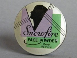 "#1654   Art Deco ""Snowfire"" Face Powder Tin, circa 1920s or 1930s"