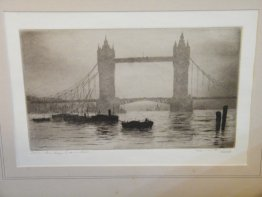 "#1769  Framed Signed Etching ""Tower Bridge London""  by E.J. Maybery (1887-1964) **Sold** May 2019"