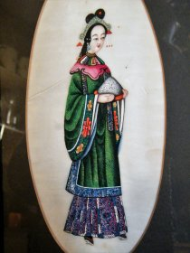 #1779 Framed Chinese Export Portrait of a Lady from Guangdong Province - 19th Century **On Hold - Sale Pending**