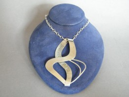 #1173 Abstract Contemporary Style Silver Pendant on Silver Chain, circa 1950s - 1960s **SOLD**