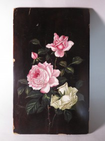 #1577  Victorian Painted Lacquer Panel from Japan, circa 1875 - 1900