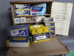 #1757  Wall Mounted Factory / Work Place First Aid Kit, circa 1959