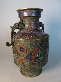 #1630 Rare Bronze Vase with Iznik Style Decoration from Japan, circa 1890 - 1910