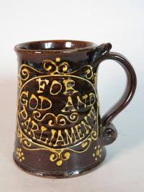 "#1634  Rare Slip Decorated Tankard ""For God And Parliament"" **SOLD** February 2020"