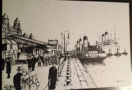 "#1854 1973 Engraving ""Landing Stage Liverpool 1928"" Postcard"