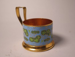 #1598  Cloisonne Enamel Soviet Russian Tea Glass Holder