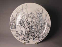 #1512  Creil Montereau Satirical Plate from France (1876-1884)
