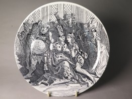 #1516  Creil Montereau Satirical Plate from France (1876-1884)