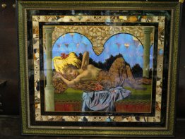 #1731  Art Nouveau Butterfly Wing Picture from Brazil, circa 1900-1920, **On hold** sale pending