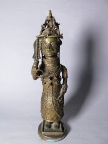 #1542  Benin Bronze Guardian Figure from Nigeria, circa 1920-1960
