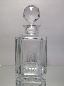 "#1560 Late 20th Century Bohemian Glass Lead Crystal Decanter ""Audentes Fortuna Luvat""  **Sold** 2018"