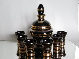 #1689  Art Deco Black Glass Decanter plus Six Shot Glasses, circa 1950s