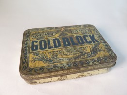 #1553  Gold Block Tobacco Tin (with tobacco), circa 1910 - 1920)