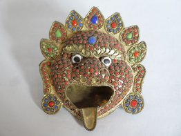 "#1744  Himalayan ""Jewelled"" Mask Ashtray from Tibet or Nepal, circa 1920-1960"
