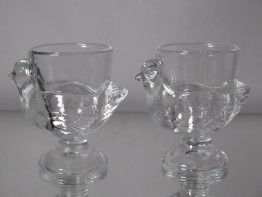 #1563  Glass Hen Egg Cups, circa 1960s