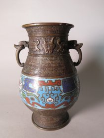 #1708  Archaic Style Cloisonne Bronze Vase from China, late Qing dynasty, circa 1870 - 1900