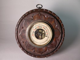 #1487  'Black Forest' Carved Wood Barometer, circa 1920-1940 **SOLD** December 2017