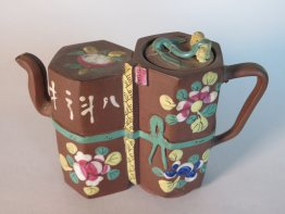 #1693  Enamelled Double Bodied Yixing Teapot from China, circa 1880-1920