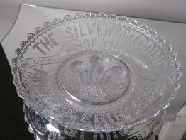 #1581  Antique Royal Commemorative Glass Bowl - Silver Wedding Prince & Princess Wales March 10th 1888  **SOLD** 2017