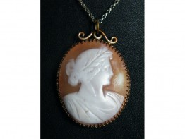 #0247 Carved Neo-Classical Style Cameo Pendant on Silver Chain circa 1890 - 1910 **SOLD**