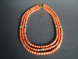 #0220 Antique Coral Pearl & 14K Gold Necklace circa 1890-1910 **SOLD**