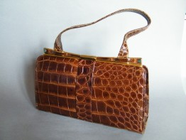 #0183 Circa 1940s Marshall & Snelgrove Crocodile Skin Leather Ladies Handbag **SOLD** through our Liverpool shop