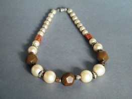 #0432 1930s Art Deco Faux Pearl Bakelite & Carved Carnelian Necklace  **SOLD**  2019