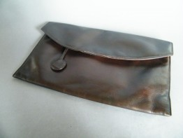 #0490 1930s Ladies Modernist Soft Brown Leather Clutch Bag  *SOLD*