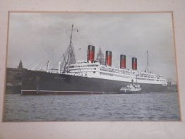 #1759  Framed Photograph R.M.S. Aquitania Liverpool, circa 1939  **Sold** May 2019