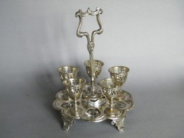 #0063 *SOLD* Victorian Electro Plated Nickel Silver Egg Cruet - Circa 1842-1883