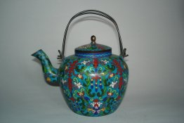 #0056  19th Century Chinese Cloisonne Enamel Tea Kettle **Sold**  to China - November 2010 售至中国 - 2010年11 月
